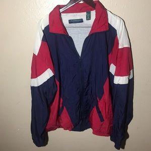 Men's Vintage Blue Red White Windbreaker XL